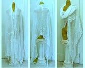 Wanderer Scarf White Shawl Wrap Long Cotton Womens Fashion