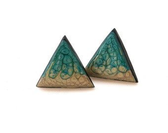 Triangle Stud Earrings - Turquoise Studs - Geometric Earrings - Teal Earrings - Womens Earrings - Post Earrings - Gifts for Her