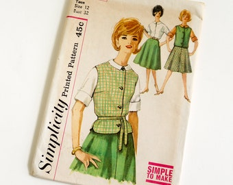 Vintage 1960s Womens Teen Size 12 Skirt, Blouse and Top Simplicity Sewing Pattern 4103 FACTORY Folds / bust 32 waist 25