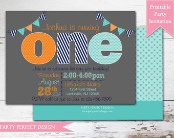 Blue, Aqua, orange and Gray First Birthday Invitation- Print Your Own