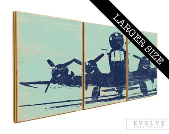 Airplane Propeller Print Collection on Wood Panels - Custom Made Wall Art 16x48