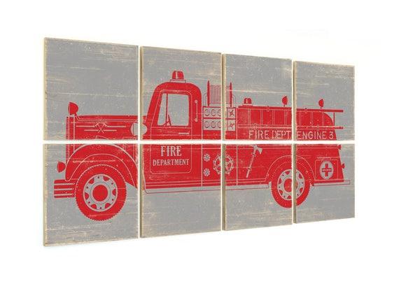 Firetruck Art Fire Engine Nursery Firefighter Baby