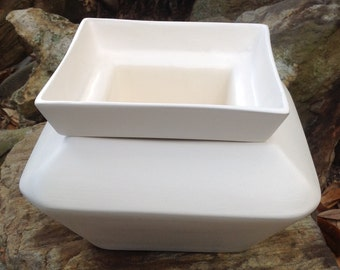 Violet pot, white, opaque, square, large, African Violet pot, self watering