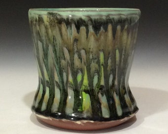 Green flame tumbler cup with chatter texture