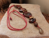 Boulder Opal statment necklace - natural gem stone jewellery - handmade in Australia - earthy brown red jewelry