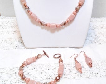 Peach Aventurine with copper necklace, bracelet and earrings set