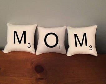 "Set of ""MOM"" Scrabble Tile Mini Pillows"