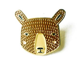 Bear Enamel Pin, Bear Brooch, Bear Jewelry, Bear Accessories, Bear Badge, Bear Lapel Charm, Cute Animal Badge, Kids Bear Pin