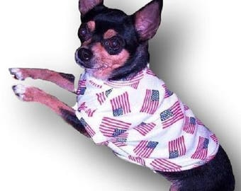 All American Flag Dog Shirt - 4 Sizes Available - Love it or send it back - Returns Accepted