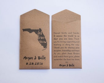 Florida Custom Seed Packet Wedding Favors - State Flower Seed Envelope Wedding Favor - Personalized Florida Favor - Many Colors Available