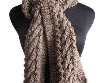 Taupe Hand Knit Scarf, Knit Women Accessory, Heather Cable and Lace Taupe Scarf, The Stef Scarf, Vegan Scarf, Mens Scarf, Womens Scarf
