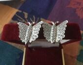 Vintage Sterling Silver Butterfly Marcasite Screw Back Earrings
