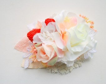 Strawberry Cream Bridal Flower Hair Comb, Shabby Chic Pastel Vintage Comb, Strawberry Farm Weddings Hair Comb, White Rose Comb, Prop, Prom