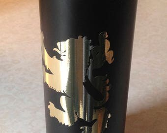 20 Ounce Double Wall Stainless Steel Insulated Straight Mug in Matte Black with Shiny Gold Lion. Insulated tumbler. Lion insulated tumbler.