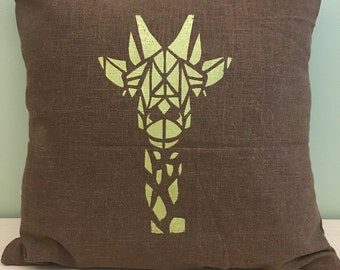 "16"" Golden geometric giraffe pillow cover"