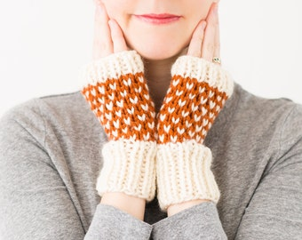 Fingerless Mittens, Knitted Wool Fair Isle Gloves - READY TO SHIP - Wintergreen Mittens (Orange)