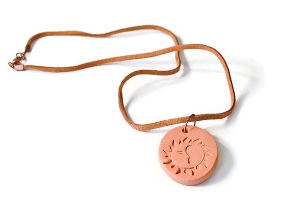 Terracotta Essential Oil Necklace, Sunshine Pendant, Aromatherapy Diffuser Jewelry