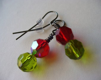 Christmas Earrings Green and Red Vintage Beads