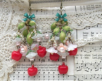 apple blossom earrings assemblage spring flower romantic cottage chic recycled vintage jewelry