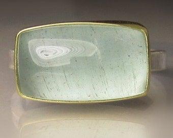 Aquamarine Ring, Natural Moss  Aquamarine Ring, Aquamarine Cabochon Ring, March Birthstone,  Sterling Silver and 18k Gold