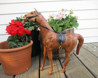 "Beautiful Vintage Brown Leather Wrapped Horse With Saddle. Glass Eye. Large Size 14""h"