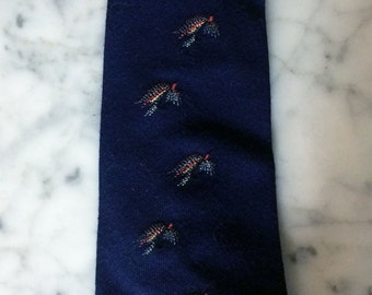 Vintage 30s early 40s Wide Dark Blue Fly Fishing Mens Tie wool Great Condition