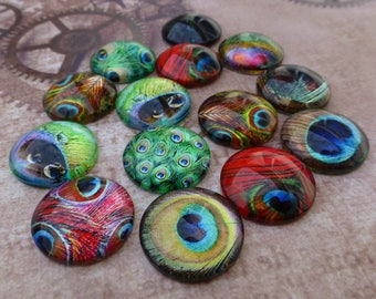 free UK postage -  Pack of 15 Peacock Feather Cabochon Mix
