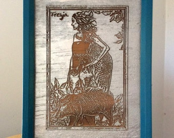 Framed, double-sided, 5x7 wooden plaque with images of Freyja
