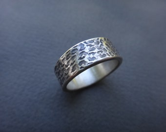 Weathered Textures Sterling Silver Wedding Band
