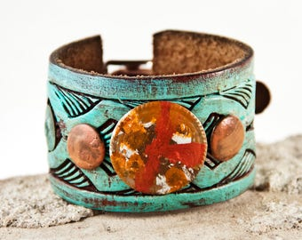 Leather Jewelry Wrist Cuff Bracelets for Women Turquoise & Orange