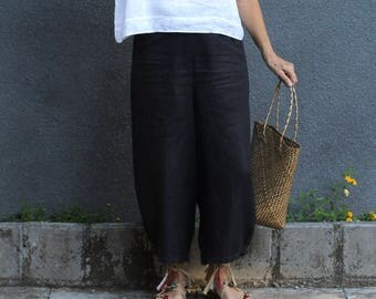 Linen, Culottes, Dropped Crotch, Wide Leg, Loose Fit, Plus Size, Resort Wear, Yoga Pants, International Size 8-20,