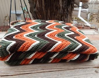 Ripple Stitch Lapghan  ~  Ripple Stitch Afghan  ~  Chevron Stitch Lapghan  ~  Chevron Stitch Afghan  ~  Earth Tones Lapghan  ~  Small Afghan