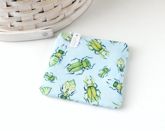 Blue and Green Bugs Coin Purse Blue Change Purse Gift Card Holder