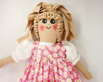 Plastic Bag Holder Doll - Daisies On Pink, Grocery  Bag Holder, Kitchen Storage, Recycle, Kitchen Storage, Rustic Doll