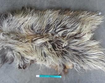 Icelandic Sheepskin- Natural Grey and Brown and SUPER Long Wooled Sheep Hide Lot No. 25224TURQ
