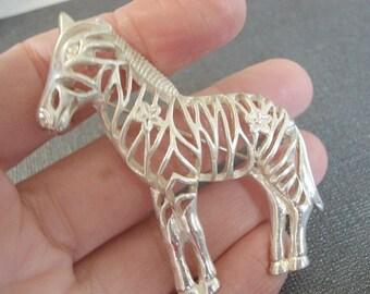 Vintage Zebra Pin Silver Horse Brooch Vintage Silver Animal Brooch Horse Jewelry Zebra Jewelry