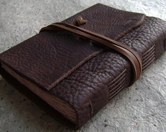 """Rustic leather journal, 4"""" x 6"""", old world journal, leather travel journal, leather sketchbook, (2379)"""