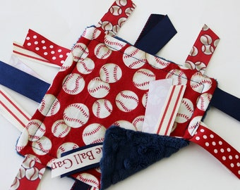 taggie, blanket, baby, boy, small, travel, baseball, red, navy, ribbon, lovey, texture, sensory, gift