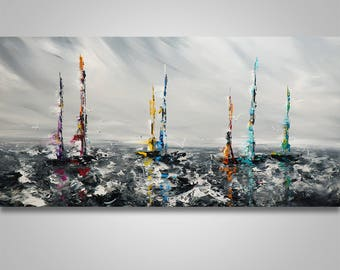 Abstract Wall Art, Seascape, Boat, Ship Abstract Painting, Acrylic painting, Seascape painting, original painting, canvas art, Home decor,