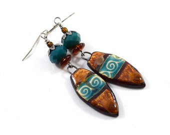 Rustic Brown and Turquoise Earrings, Ceramic Earrings, Artisan Earrings, Boho Earrings, Silver Earrings, Turquoise Earrings, Long,  AE210