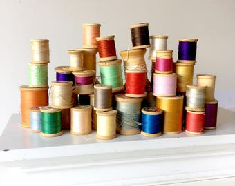 Lot of 38 Vintage Wooden Spools with Thread Remnants Variety Colors Sizes