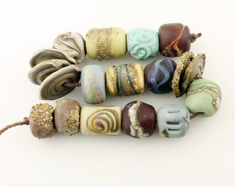 Lampwork Glass Beads Set, SRA Matte Etched Rustic Organic Blue Brown Green   'Tribal Relics'