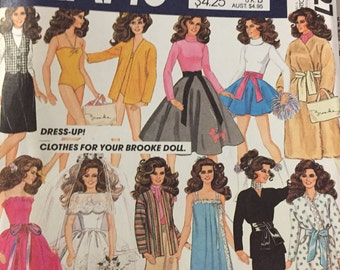 "McCalls 8727 original 1983 doll clothes Sewing pattern BROOKE 12"" fashion doll wedding dress swimsuit wardrobe gowns"