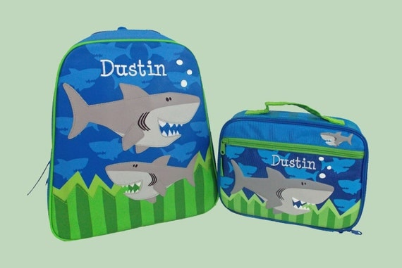 Child's Personalized Stephen Joseph GoGo SHARK Themed Backpack and Lunchbox School Set-Monogramming Included In Price