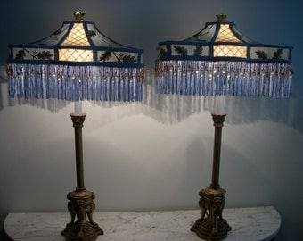 Pair of Lamps with Handmade Silk Shades with Fringe