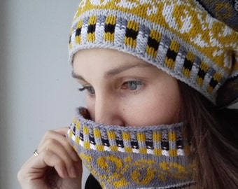 SALE  Set, Knit Cowl and Hat, Fair Isle pattern, Handknit , One size, Grey and mustard yellow