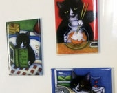 HOLIDAY SALE Charlie the Tuxedo Cat Refrigerator Magnets; set of 3