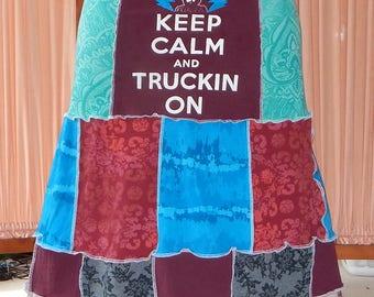 NEW Grateful Dead Patchwork Keep Calm and Truckin On T Skirt Tie Dye Festival Hippie Shirt OOAK Patchwork