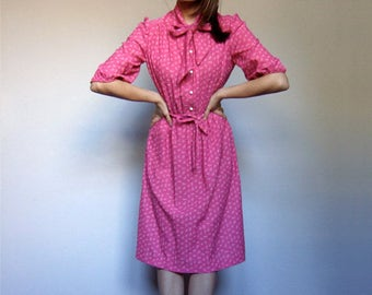 Secretary Dress Bright Pink Dress Women Vintage Bow Neck Short Sleeve Dress Pink Summer Dress - Small to Medium S M