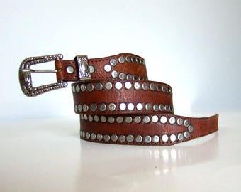 Vintage Leather Belt Studded Silver Belt Boho Festival Belt Tan Cognac Leather Silver Buckle - Medium to Large  M L